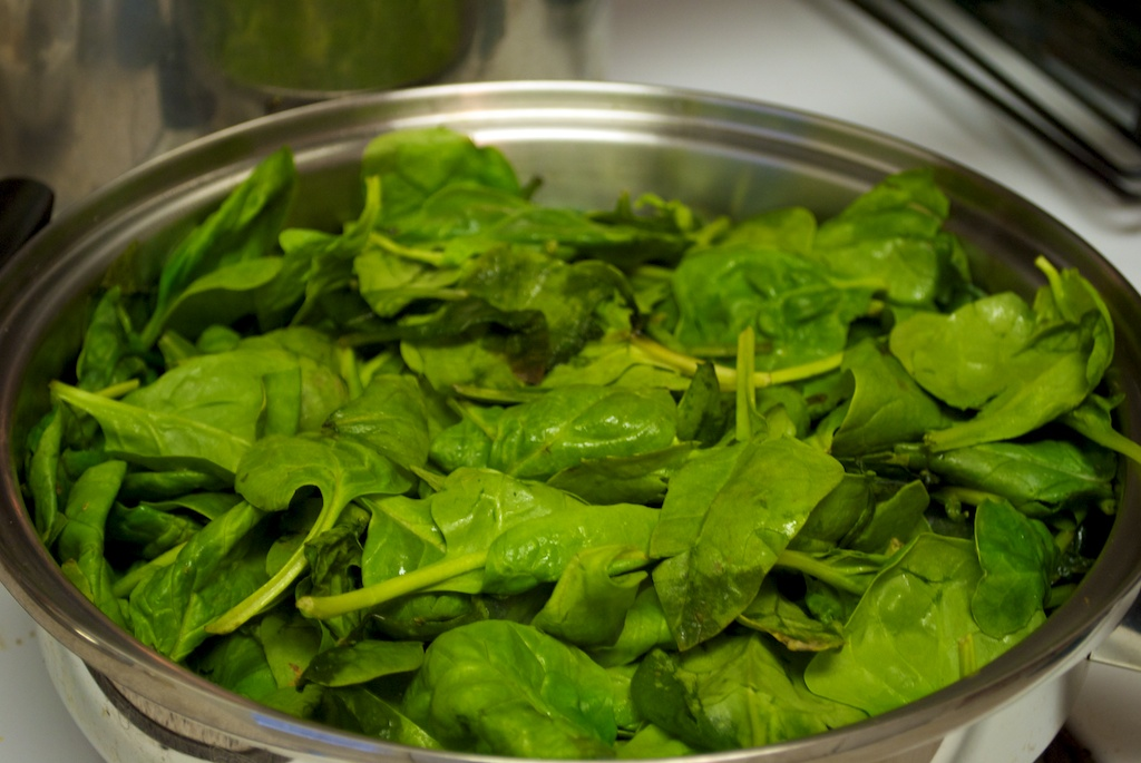 Fresh Spinach in Pan