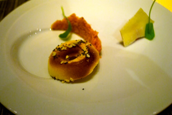 Everything bagel, smoked salmon threads, crispy cream cheese at WD~50.jpg