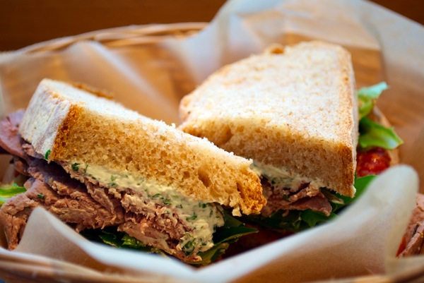 Roasted lamb, tomato chutney, goat cheese sandwich at Flour Bakery and Cafe.jpg