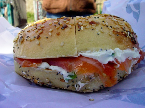 Russ and Daughters cream cheese and lox sandwich