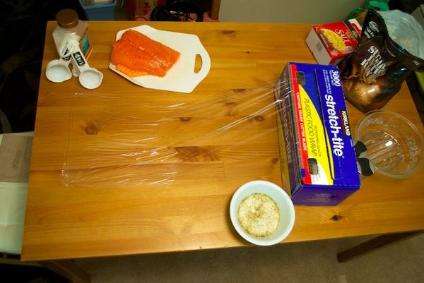 Salmon curing setup