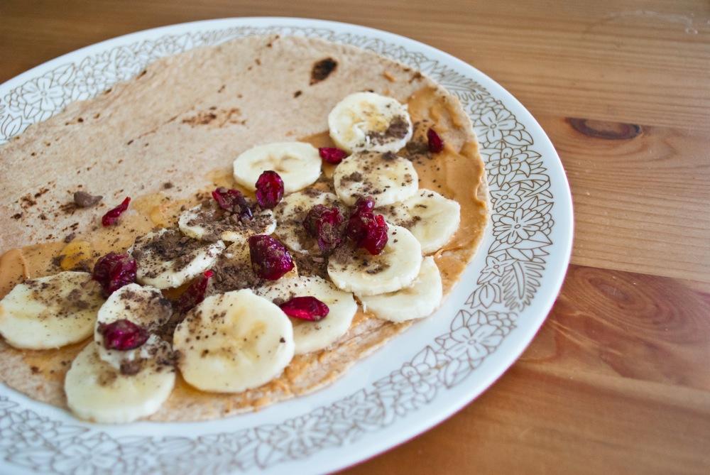 Craisin PB breakfast tortilla