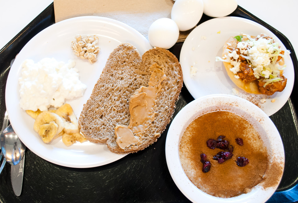 A Mexican specialty dish which I forgot the name of. Steel-cut oats with a heaping of cinnamon and a few craisins. Cottage cheese. Boiled eggs. Banana chips. Whole wheat bread with peanut butter.