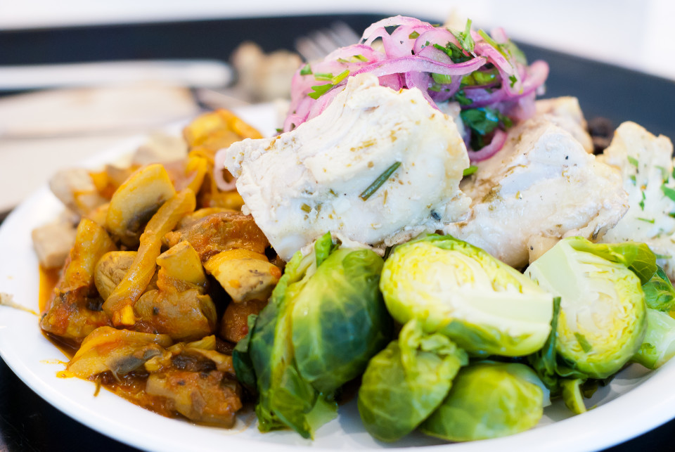 A smorgasbord of brussel sprouts, Indian-style mushrooms, chicken, and fresh red onions.