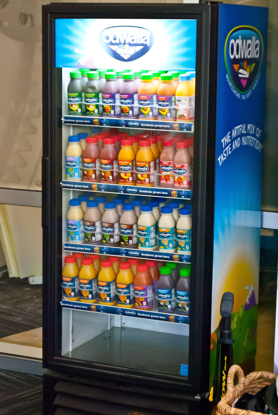 Refrigerator full of Odwalla juice, free for the taking.