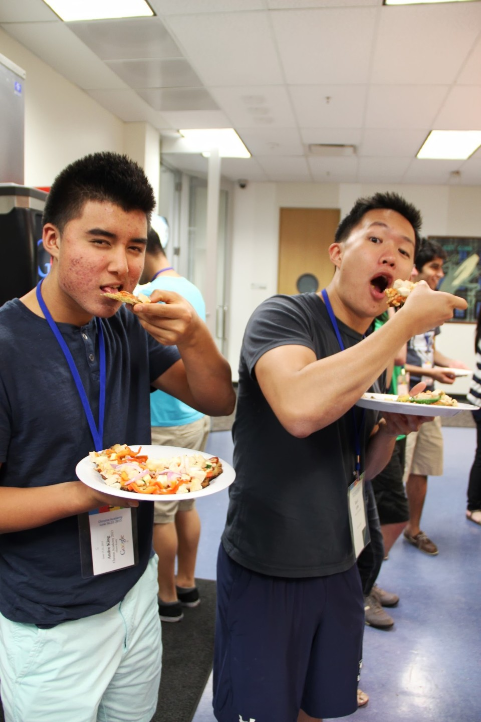 Me and Andre (half-Korean!) pretending to eat raw pizza. Andre's awesome cause he also likes to eat healthy and lifting.