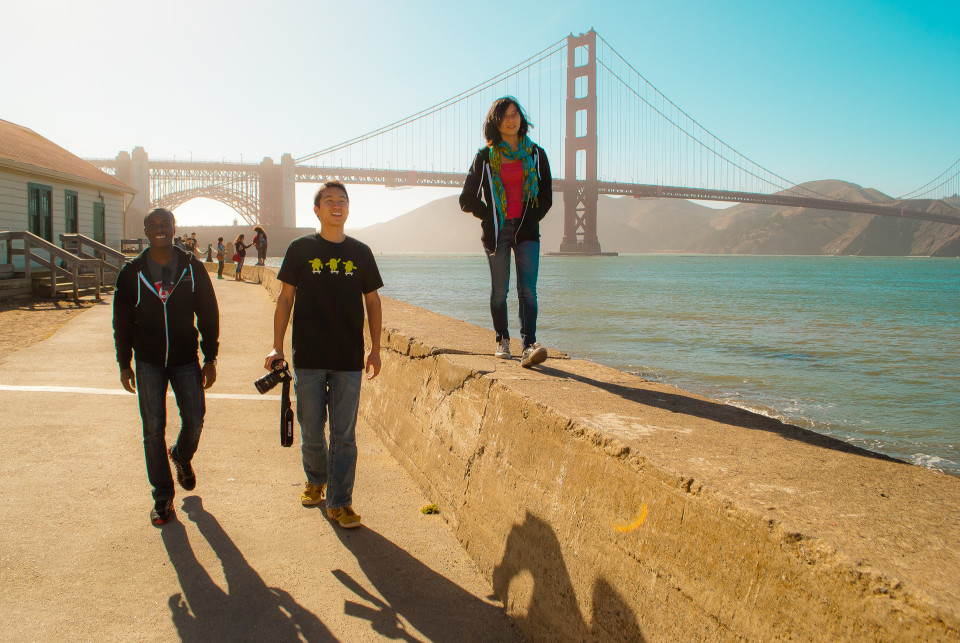 A few of my teammates walking along the San Francisco bay.