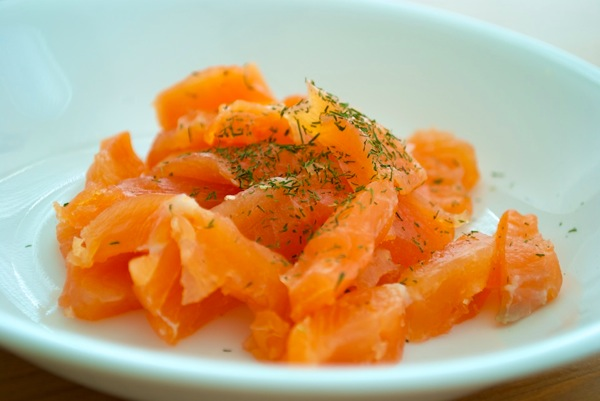 Thick sliced cured salmon