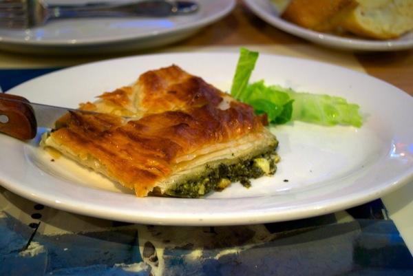 Spinach pie at Taverna Kyclades