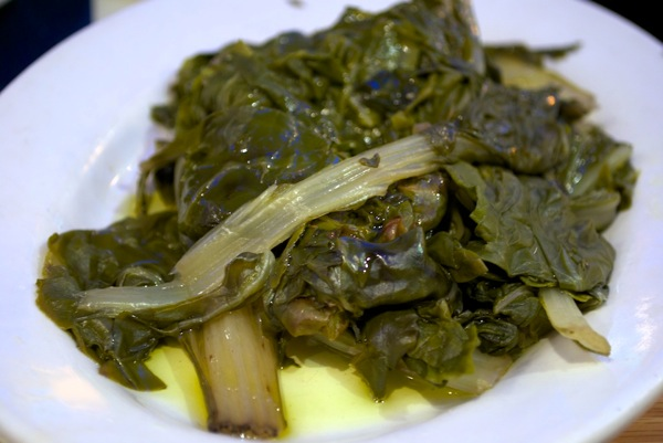 Wilted greens at Taverna Kyclades
