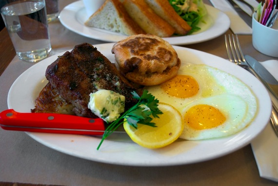 Steak and eggs at Prune