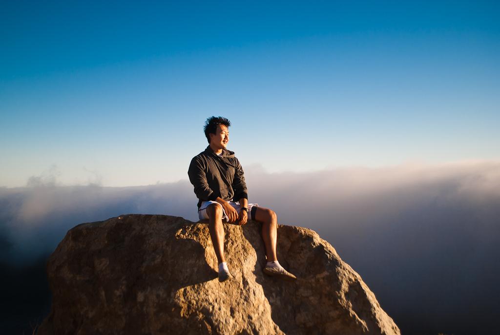 Earl on a rock